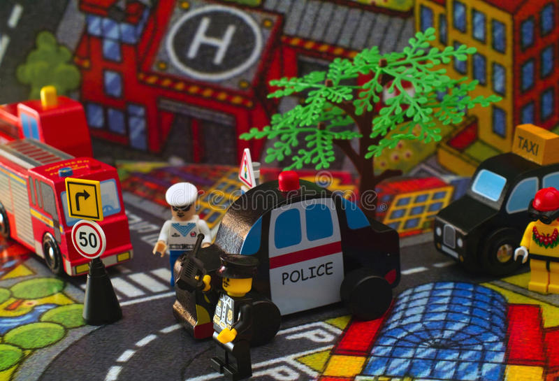 Stuk speelgoed stad stock fotografie