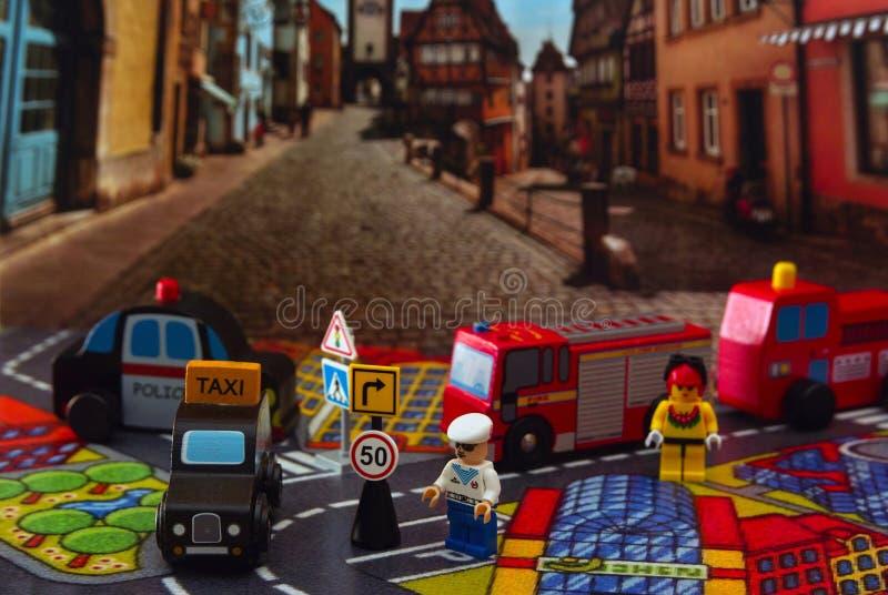 Stuk speelgoed stad royalty-vrije stock fotografie