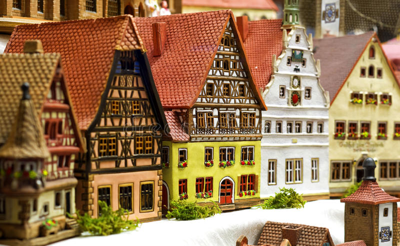 Stuk speelgoed stad royalty-vrije stock foto