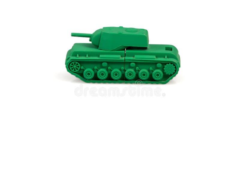 Stuk speelgoed tank op een witte achtergrond wordt geïsoleerd die royalty-vrije stock afbeeldingen