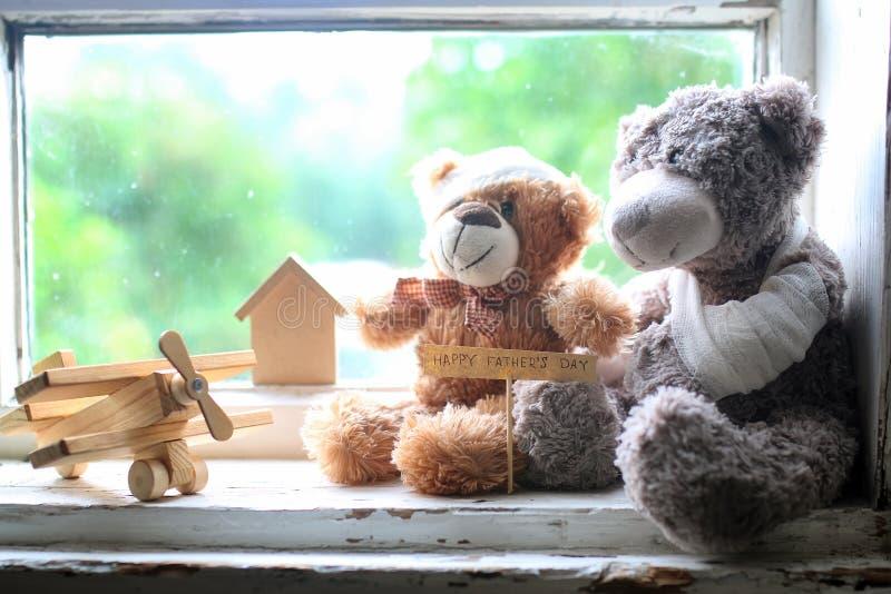 Stuk speelgoed teddy gelukkige vaderdag stock afbeelding
