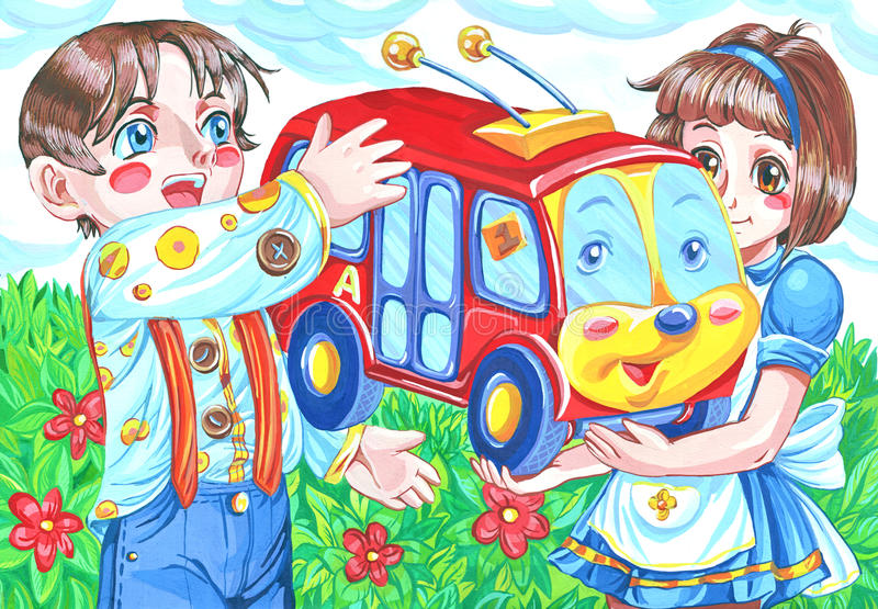 Stuk speelgoed trolleybus stock illustratie