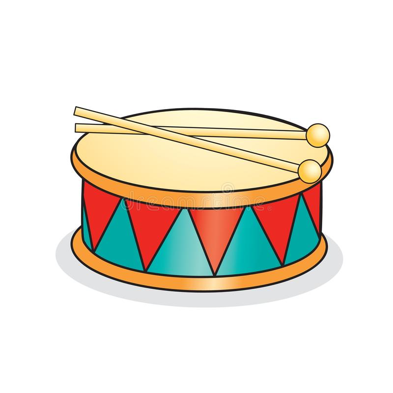 Stuk speelgoed trommel en trommelstokken royalty-vrije illustratie