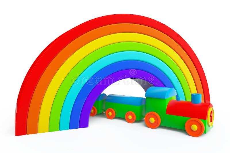 Stuk speelgoed veelkleurige trein onder regenboogbrug royalty-vrije illustratie