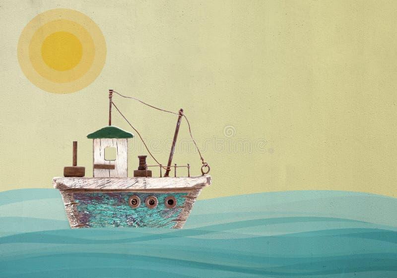 Stuk speelgoed zeilboot op landschap geschilderde muurachtergrond royalty-vrije stock foto's