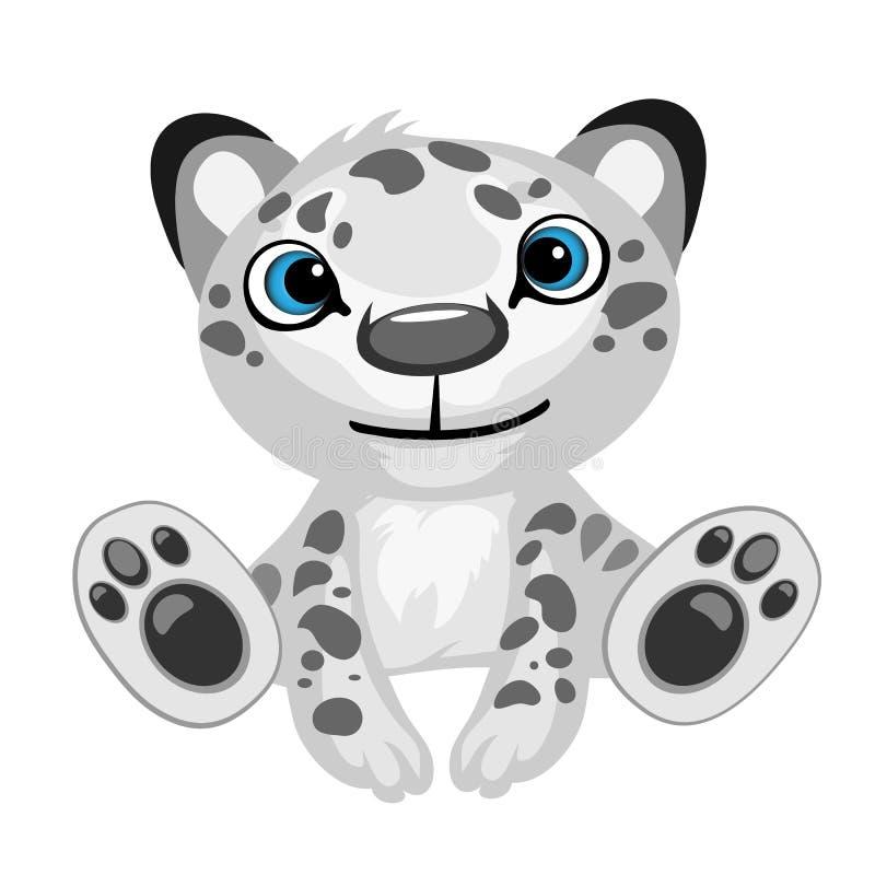 Stuk speelgoed zwart-wit geïsoleerd luipaardbeeldverhaal stock illustratie