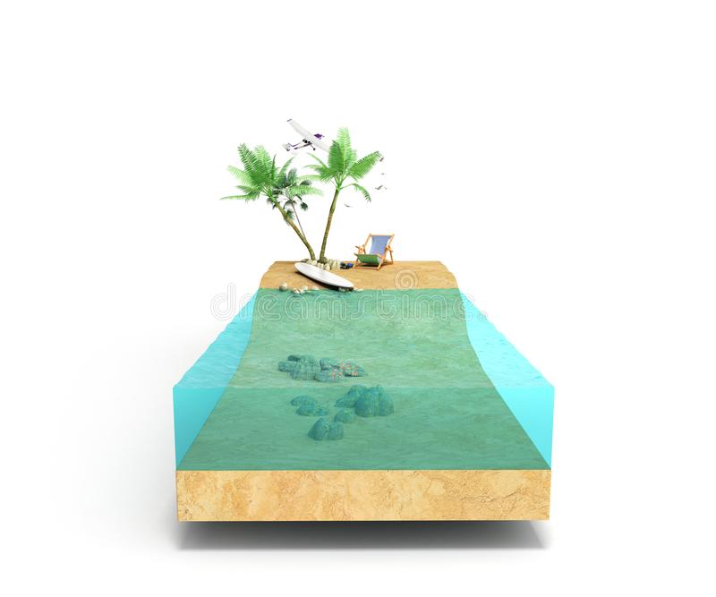 Stuk tropisch eiland met water en palmen op een strand in cros stock foto
