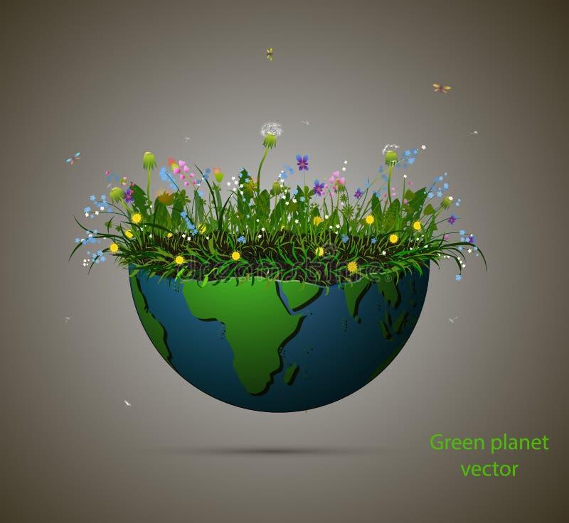 Stuk van aardehoogtepunt van het kweken van geïsoleerde de zomerbloem, Bloeiende planeet en tekst groene planeet, groene planeet vector illustratie
