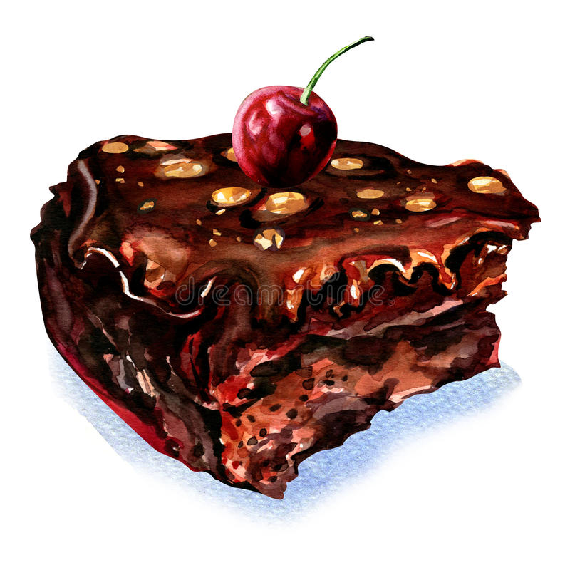 Stuk van chocoladecake met kers royalty-vrije illustratie