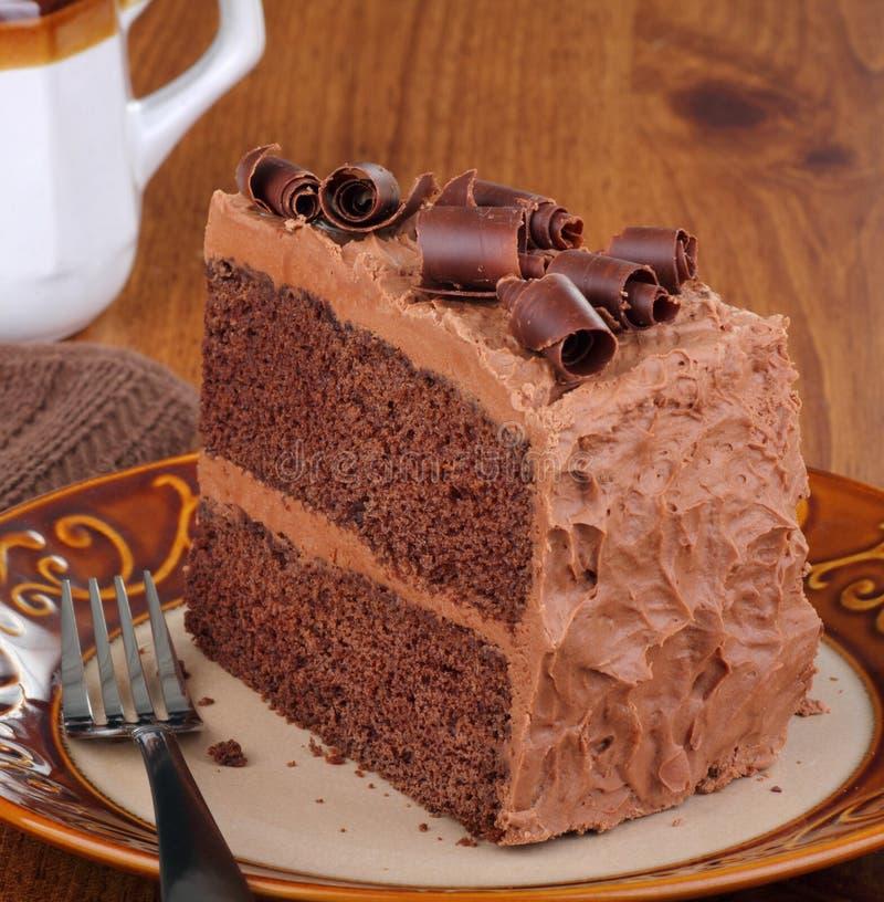 Stuk van de Cake van de Chocolade stock fotografie
