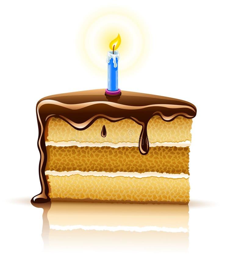 Stuk van de cake van de verjaardagschocolade met kaars stock illustratie