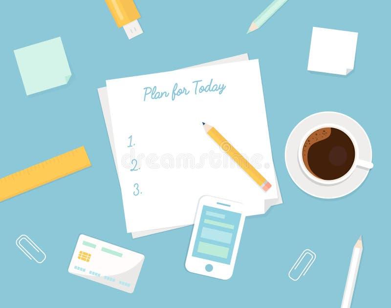 Stuk van Document met Plan Uw Dagteken, Kop van de Ochtendkoffie en Kantoorbehoeftenvoorwerpen Het beheren van Uw Dagillustratie vector illustratie