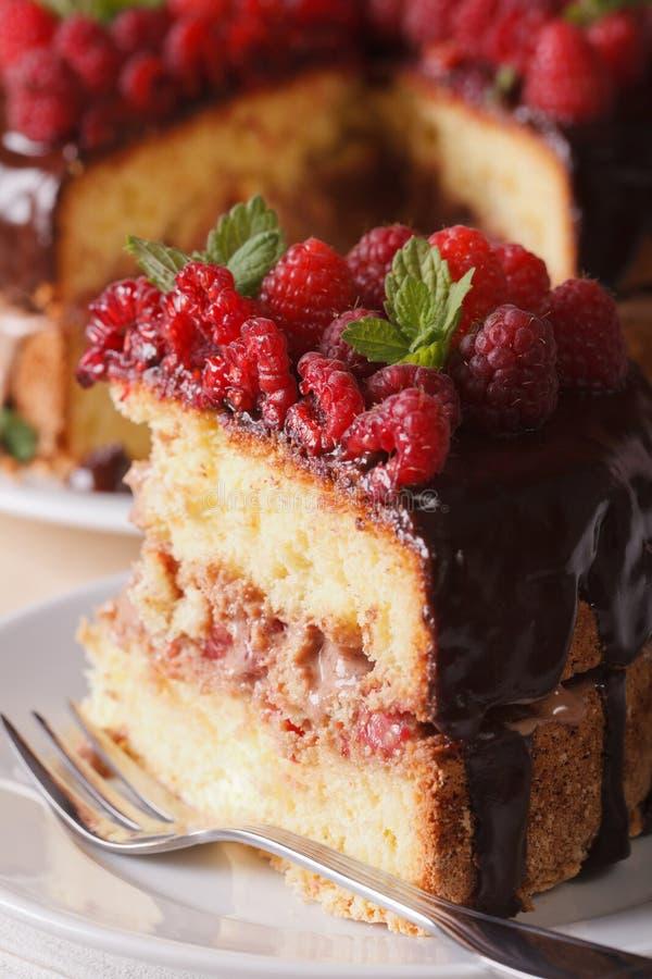 Stuk van frambozencake op een witte plaatmacro verticaal royalty-vrije stock foto