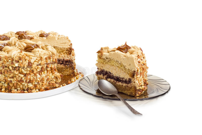 Stuk van gelaagd biscuitgebak op schotel, gedeeltelijk gesneden cake royalty-vrije stock afbeelding