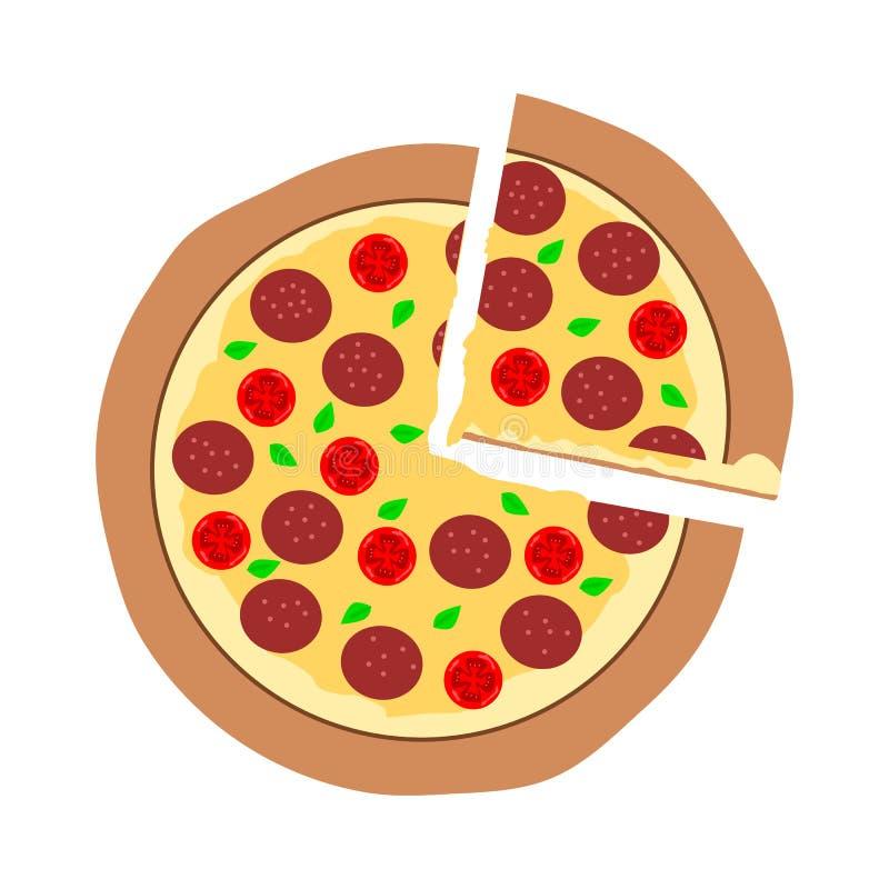 Stuk van gesneden pepperonispizza, de hete die kaas van de smeltingsmozarella op bovenkant op witte achtergrond wordt geïsoleerd; royalty-vrije illustratie
