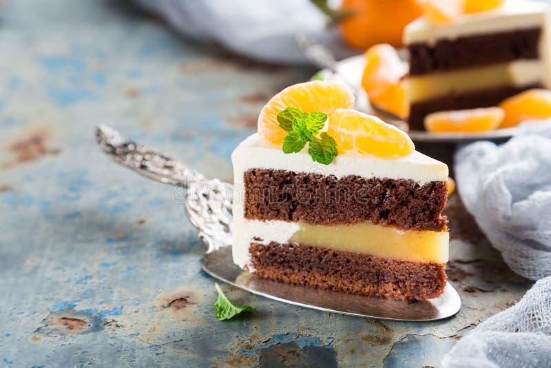 Stuk van heerlijke chocoladecake stock foto