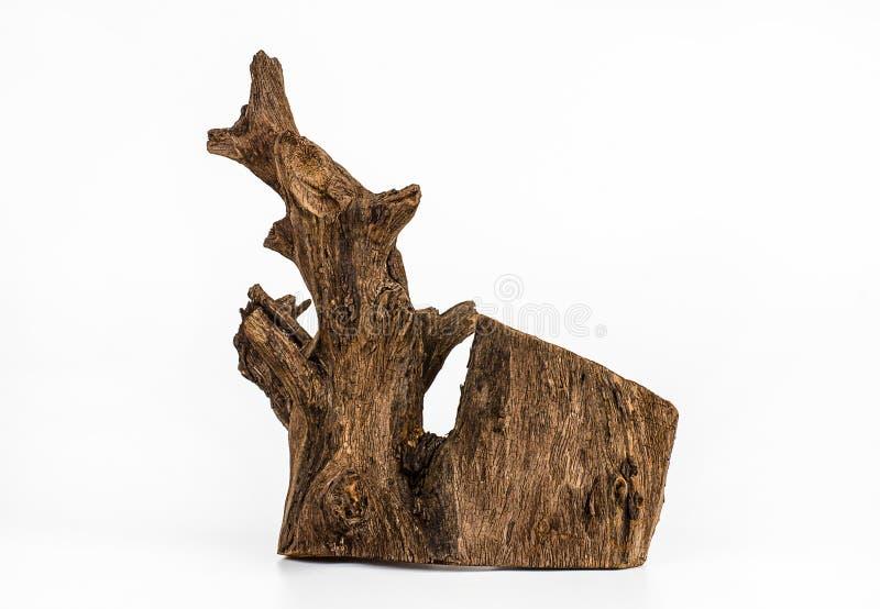 Stuk van hout op witte achtergrond, Oud hout, Hout voor huis royalty-vrije stock afbeelding