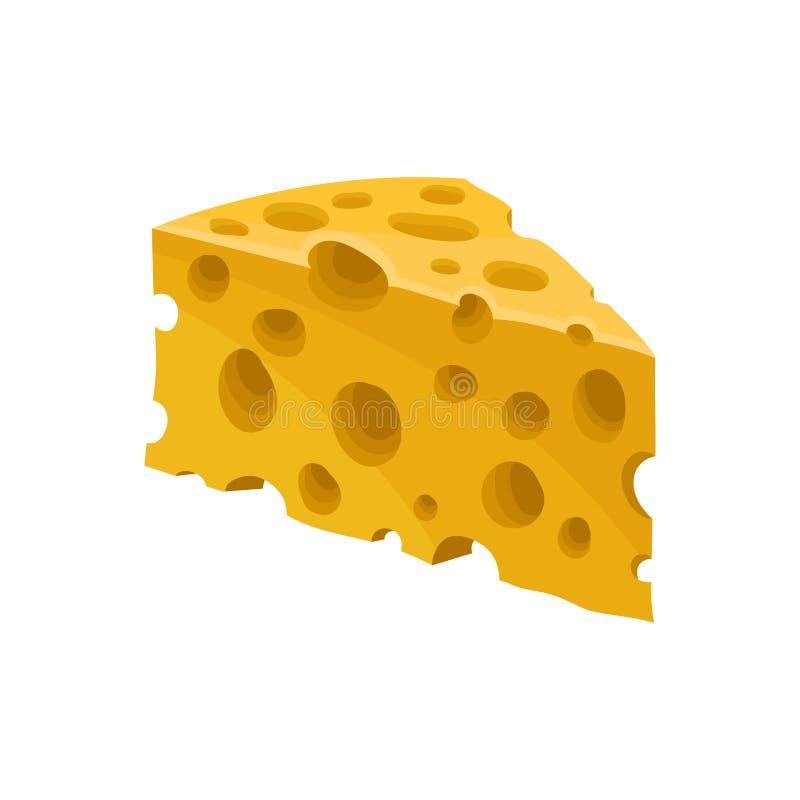 Stuk van kaas, gezonde verse zuivelproduct vectorillustratie op een witte achtergrond vector illustratie