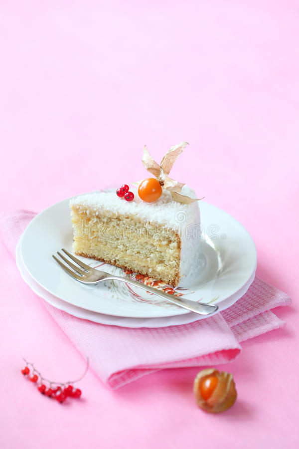Stuk van Kokosnotensinaasappel Gelaagde Cake stock foto's
