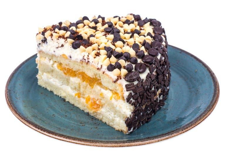Stuk van low-calorie fruitcake Gezond dessert stock foto's