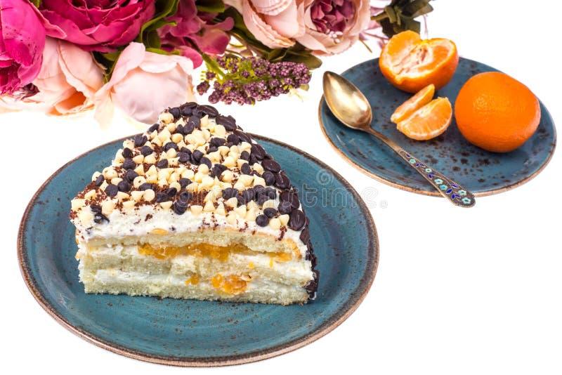 Stuk van low-calorie fruitcake Gezond dessert stock afbeelding