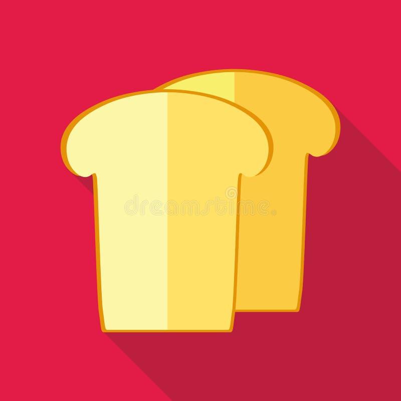Stuk van wit broodpictogram, vlakke stijl vector illustratie