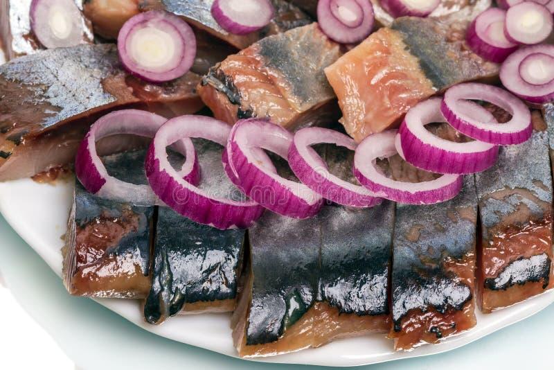 Stukken haringen met uien royalty-vrije stock afbeeldingen
