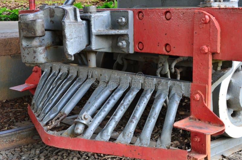 Stukken over oude trein op postgehandicapten worden gedetailleerd, stoomlocomotief zoals kennen als & x22 die; Maria Fumaça†  royalty-vrije stock foto's