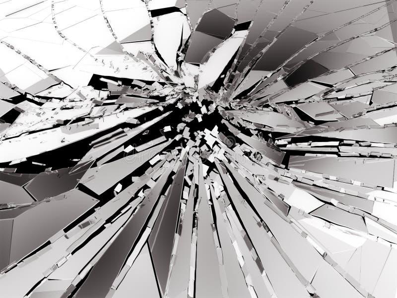 Stukken van Gebroken of Verbrijzeld glas op zwarte royalty-vrije illustratie