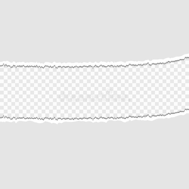 Stukken van gescheurd document op een transparante achtergrond Vector illustratie voor uw zoet water design royalty-vrije illustratie
