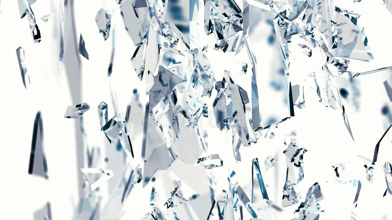 Stukken van glas op wit worden of zijn gebarsten gebroken dat vector illustratie