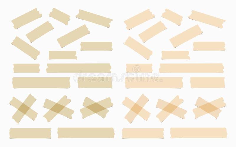 Stukken van verschillende grootte, kleur, kleverig, zelfklevend afplakband vector illustratie