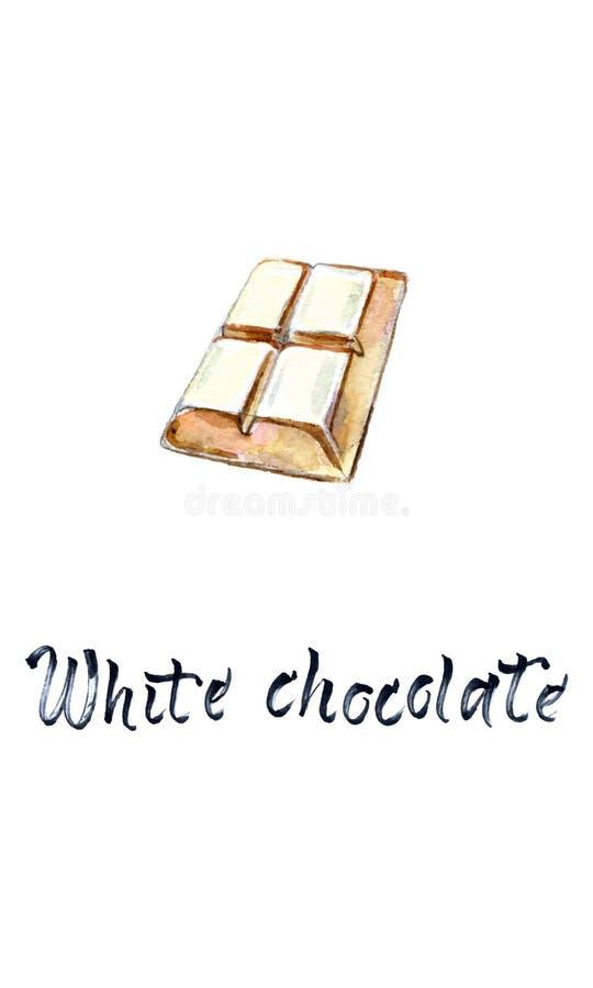 4 stukken van witte chocoladereep, waterverf vectorillustratie royalty-vrije illustratie