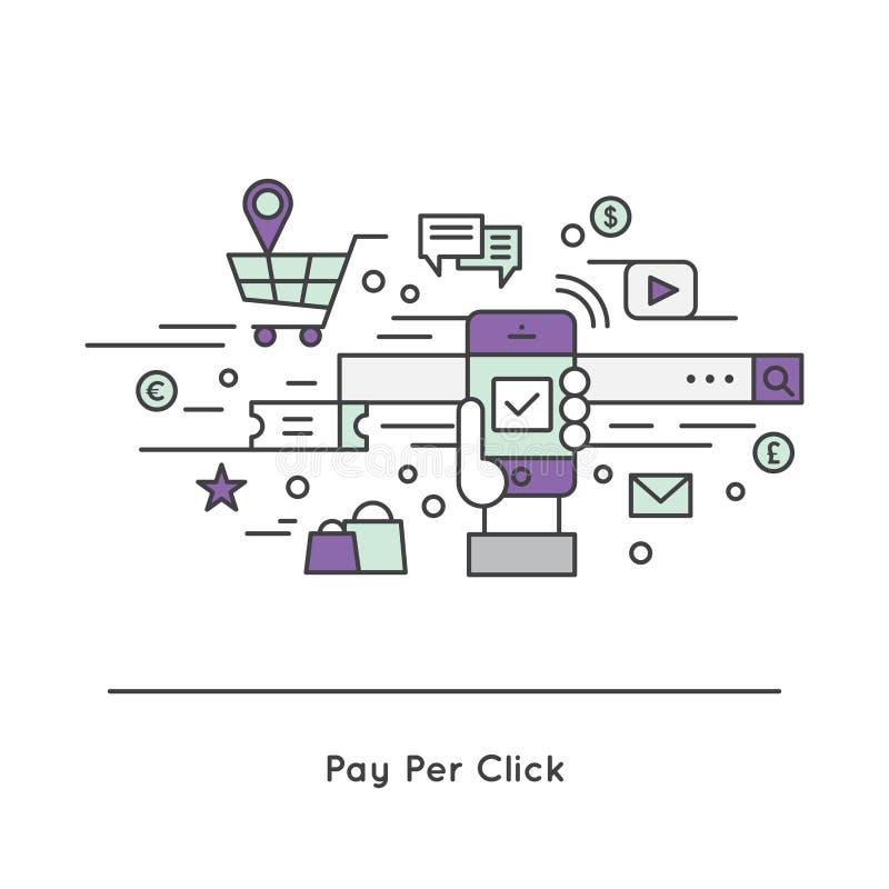 Stuknięcia PPC kosztuje na stuknięcia CPC interneta reklamy modela ilustracji
