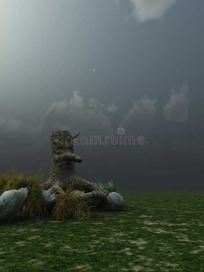 Download Stump with face stock illustration. Illustration of clouds - 23841879