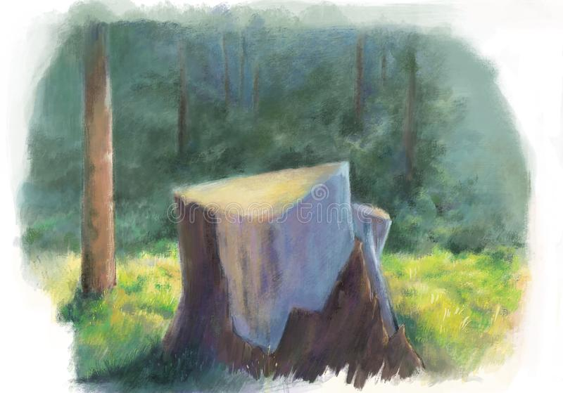 Stump in forest painting style illustration.Beautiful Nature scene with stub,tree royalty free illustration