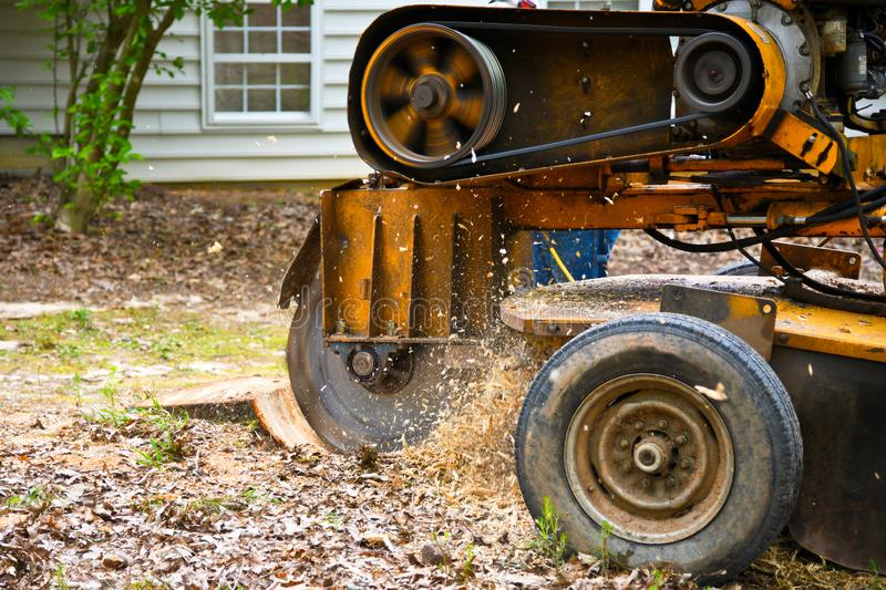 An Industrial Stump Grinding Machine stock photography