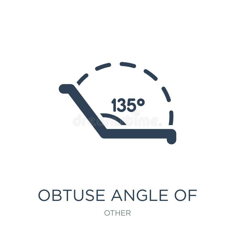 stumpfer Winkel von 135 Grad Ikone in der modischen Entwurfsart stumpfer Winkel von 135 Grad Ikone lokalisiert auf weißem Hinterg stock abbildung
