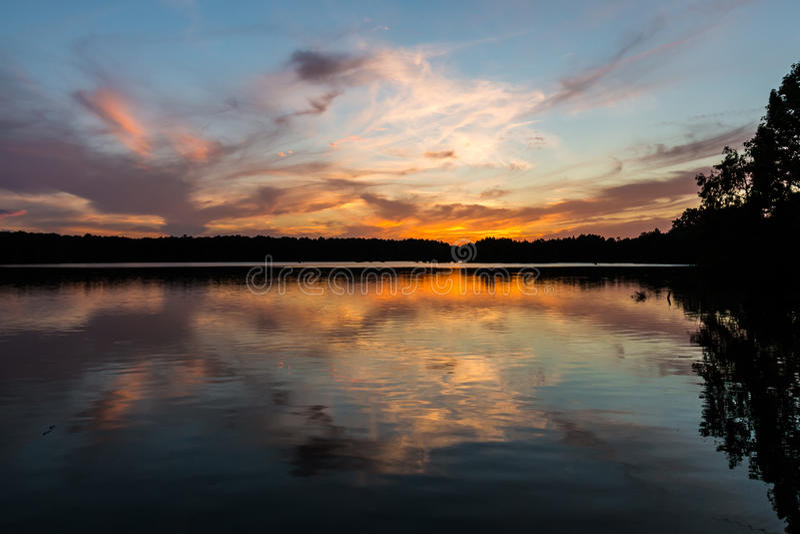 Stumpy Lake Brilliant Orange Sunset in Virginia Beach, Virginia royalty free stock photos
