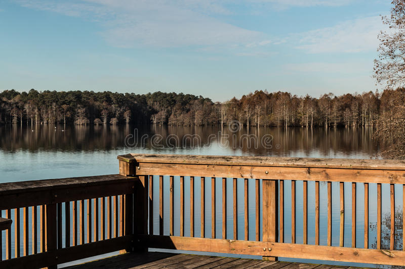 Stumpy Lake in Fall from Fishing Pier royalty free stock images