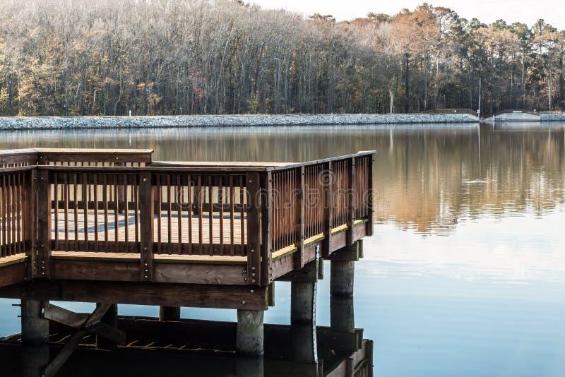 Stumpy Lake Fishing Pier in Virginia Beach royalty free stock photography