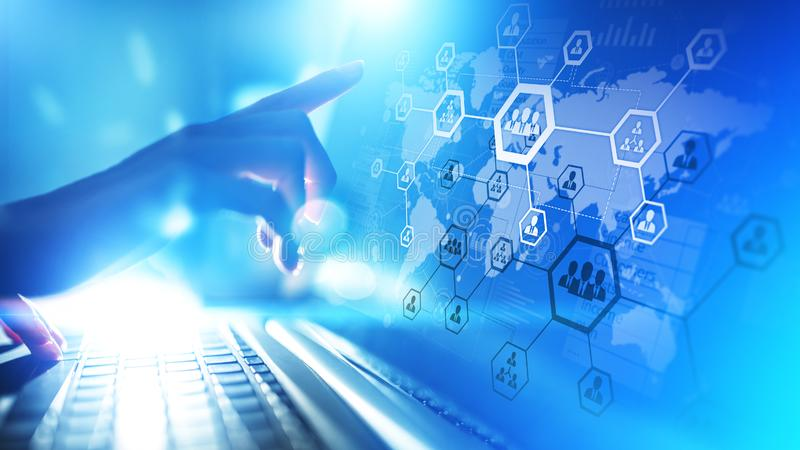 Stunde, Personal Management, Einstellung, Outsourcing Geschäft und modernes Technologiekonzept lizenzfreie abbildung
