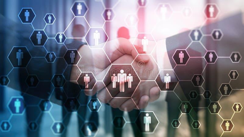 Stunde, Personalwesen-, Einstellungs-, Organisationsstruktur und Konzept des Sozialen Netzes lizenzfreie stockfotos