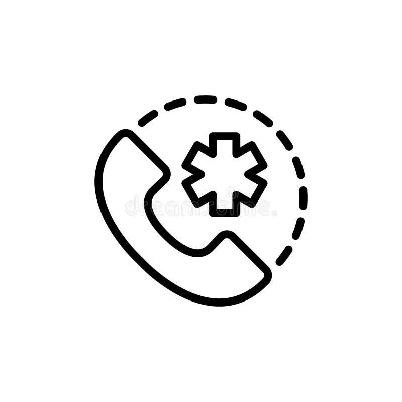 24 Stunde, rund um die Uhr medizinische Anruf suppot Ikone auf Weißrückseite stock abbildung