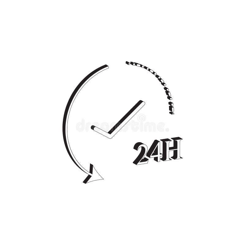 24 Stunden Arbeitsikone Elemente der Internetsicherheitsikone Erstklassiges Qualitätsgrafikdesign Zeichen und Symbolsammlungsikon lizenzfreie abbildung