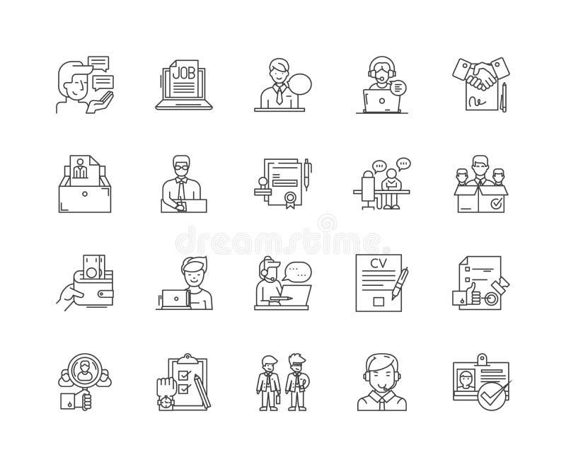 Stunden-Berater zeichnen Ikonen, Zeichen, Vektorsatz, Entwurfsillustrationskonzept stock abbildung