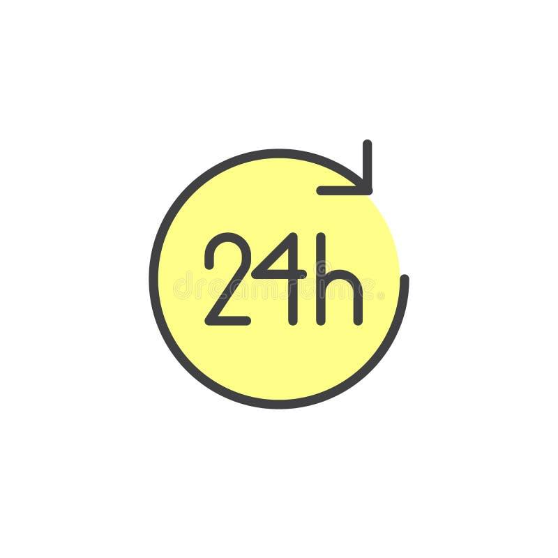 24 Stunden gefüllte Entwurfsikone vektor abbildung