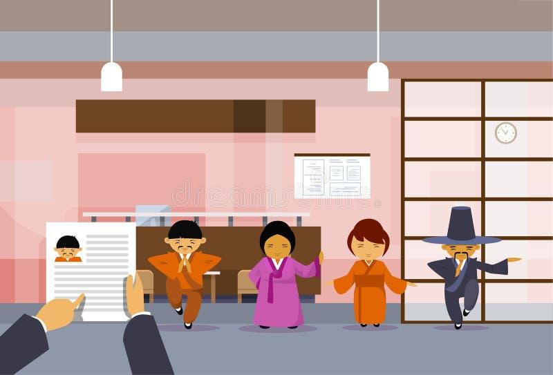 Stunden-Handgriff-Lebenslauf-Zusammenfassung von asiatischen Geschäftsleuten Geschäftsmann-Over Group Ofs in den traditionellen K stock abbildung