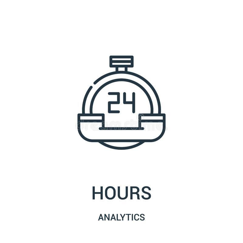 Stunden Ikonenvektor von der Analyticssammlung D?nne Linie Stundenentwurfsikonen-Vektorillustration lizenzfreie abbildung