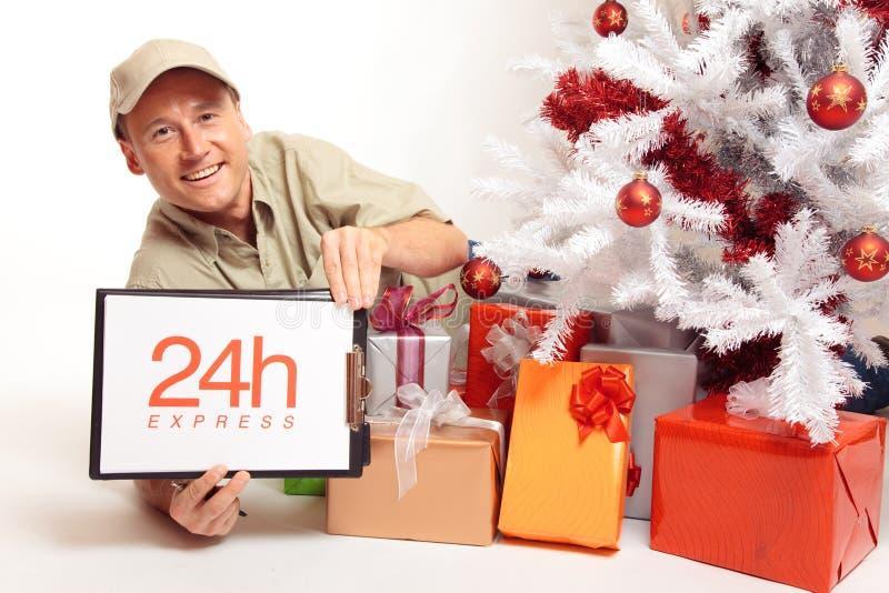 24 Stunden-Kurierdienst, sogar auf Weihnachten! stockfotografie